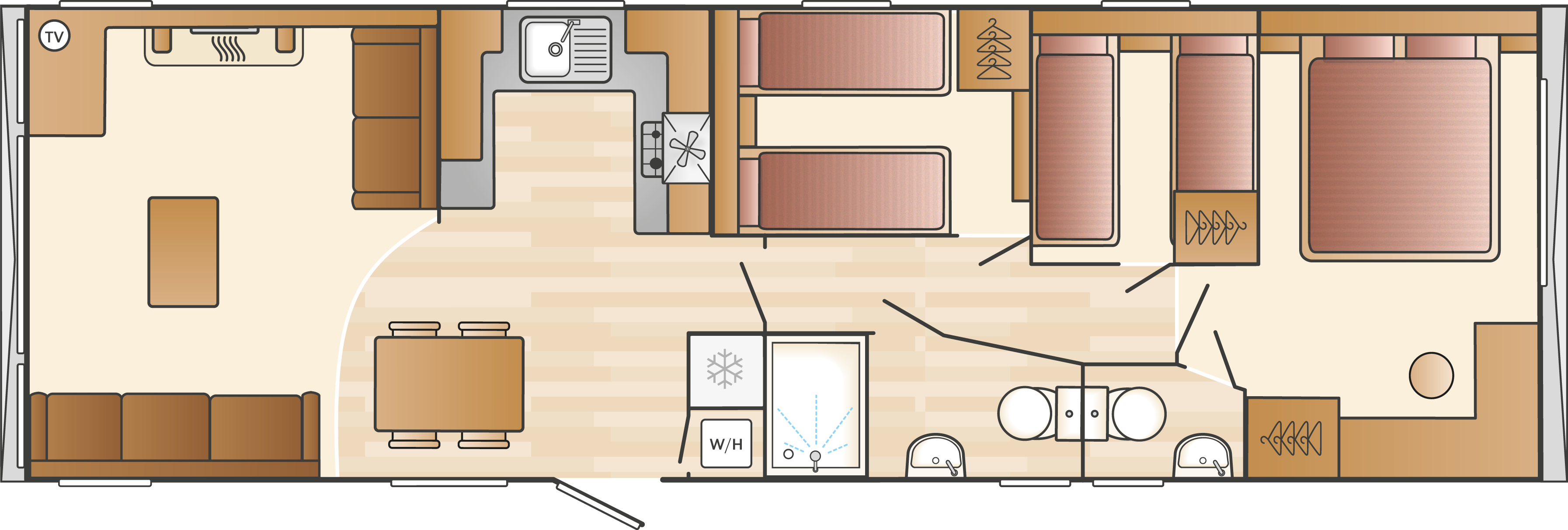 4 Bedroom Caravan Layout